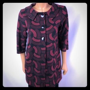 Andria Lieu long jacket tunic red black buttoned M